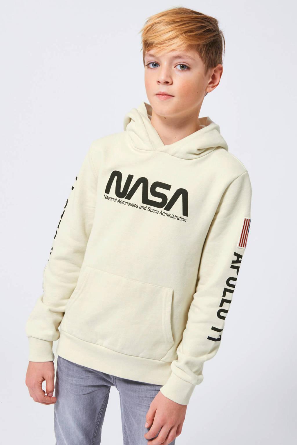 America Today Junior hoodie NASA Semuel met tekst ecru, Ecru