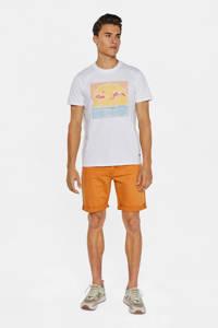 WE Fashion Blue Ridge straight fit jeans short faded orange, Faded Orange