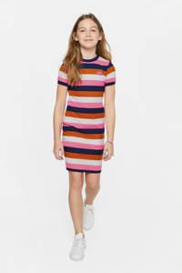 WE Fashion gestreepte ribgebreide jersey jurk roze/bruin/donkerblauw, Roze/bruin/donkerblauw