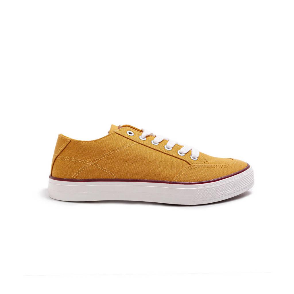 WE Fashion   canvas sneakers mosterdgeel, Geel/Mosterdgeel