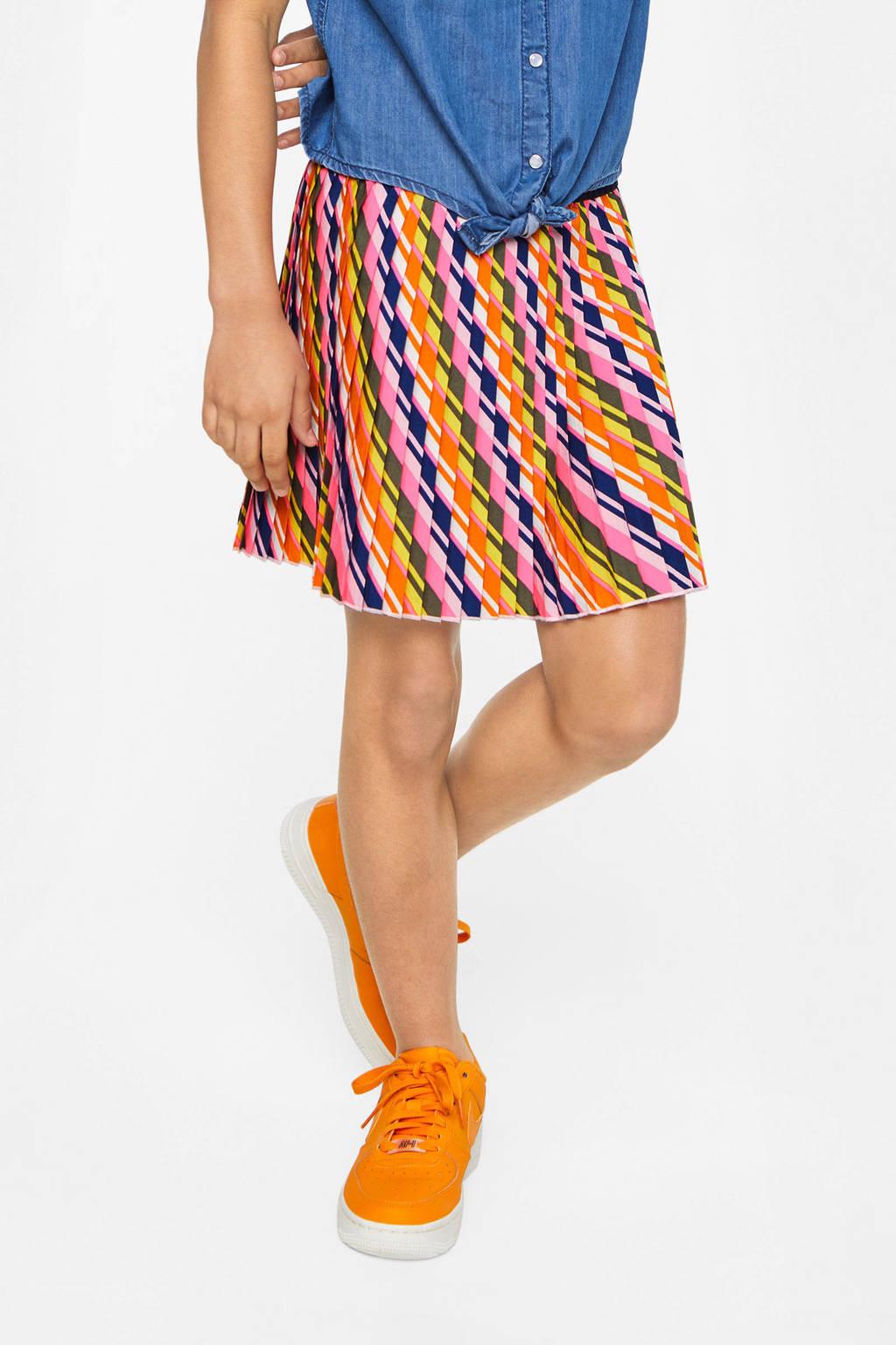 WE Fashion rok met grafische print en glitters roze/donkerblauw/geel, Roze/donkerblauw/geel