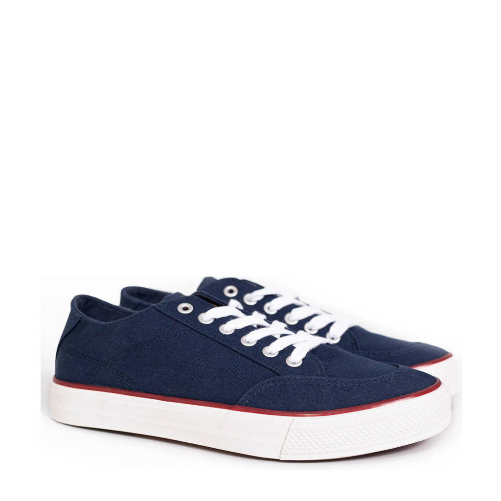 WE Fashion   canvas sneakers donkerbruin, Donkerblauw