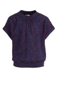 WE Fashion T-shirt met all over print en plooien donkerblauw/roze/zwart