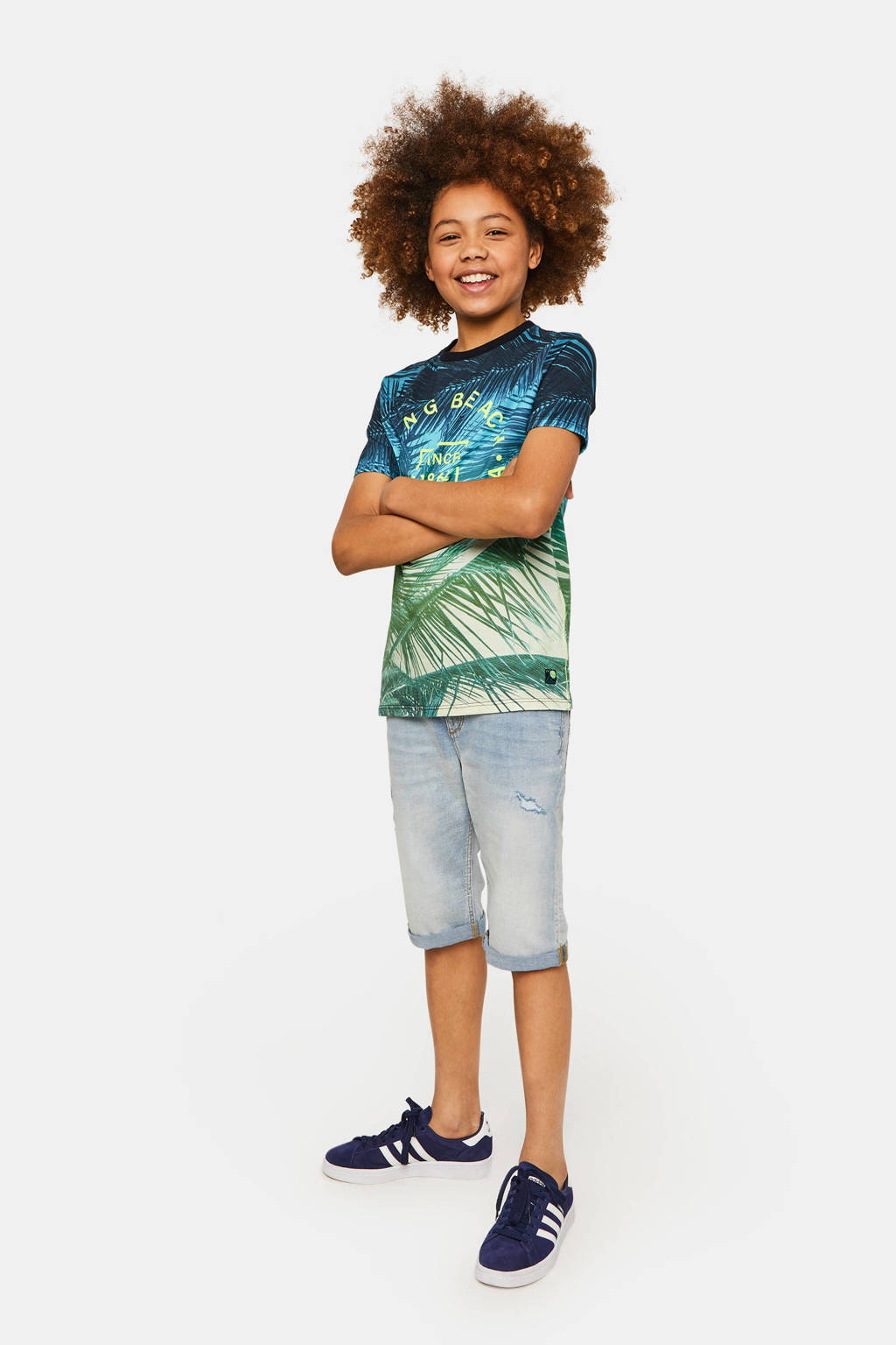 WE Fashion T-shirt met all over print blauw/groen/lichtgroen, Blauw/groen/lichtgroen