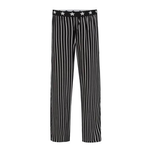 WE Fashion gestreepte loose fit broek zwart/wit