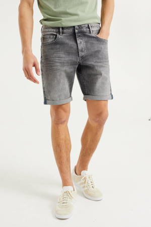 regular fit jeans short grey denim