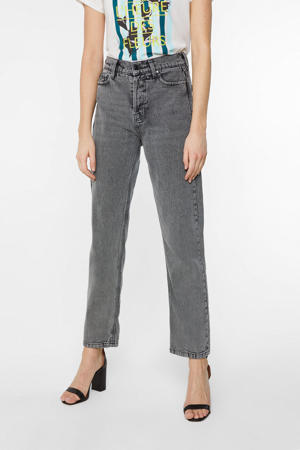 high waist straight fit jeans grijs