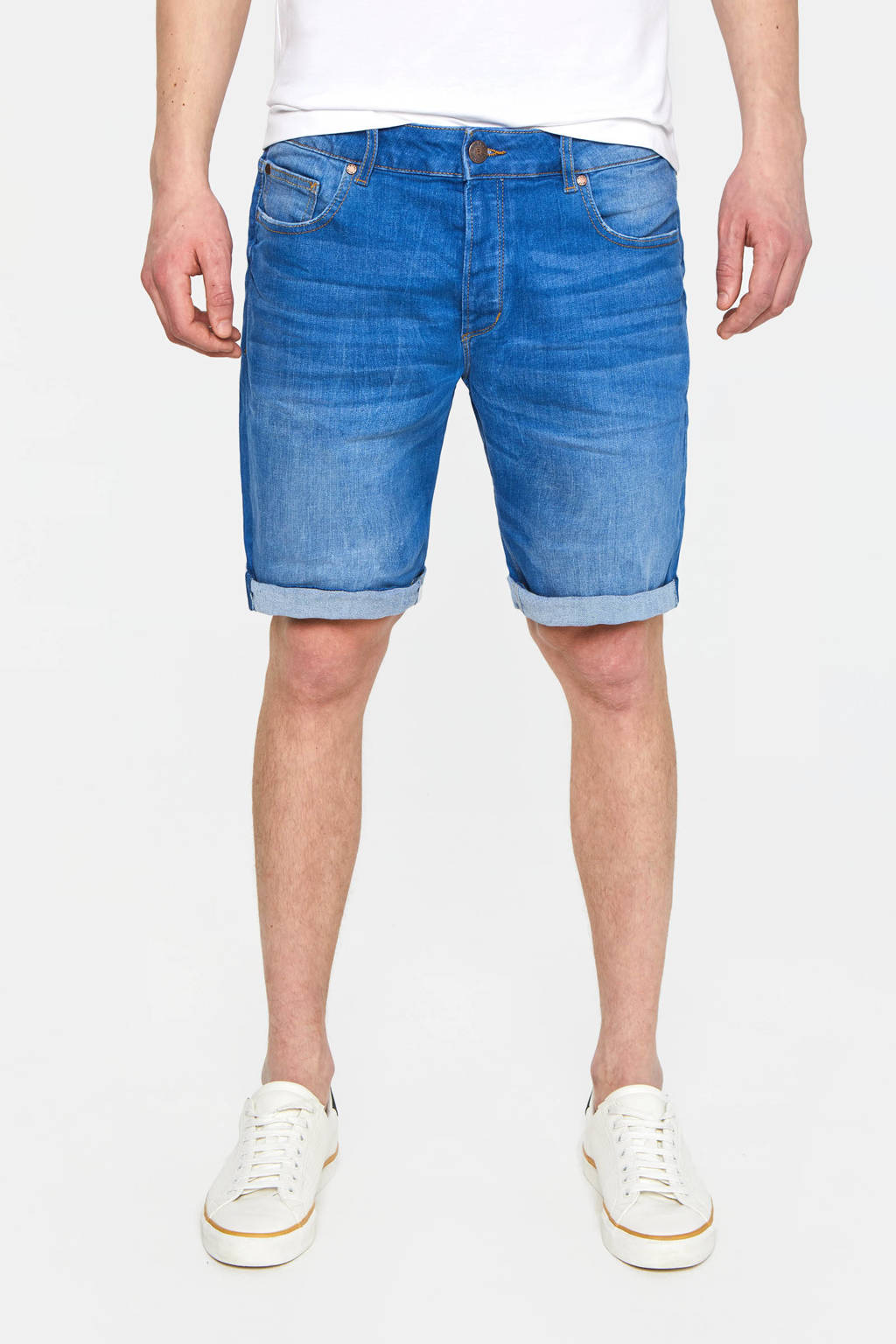WE Fashion regular fit jeans short blue denim, Blue denim