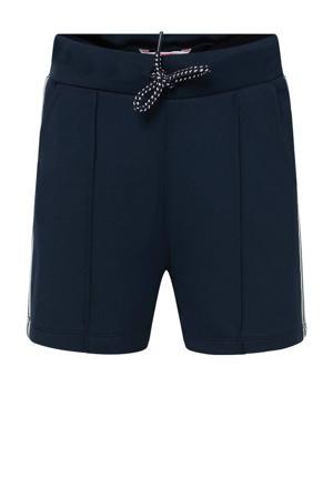 slim fit sweatshort met zijstreep donkerblauw