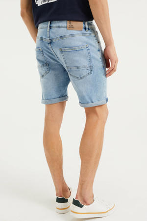 regular fit jeans short bleached denim