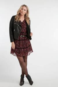 MS Mode gebloemde semi-transparante jurk rood/roze, Rood/roze