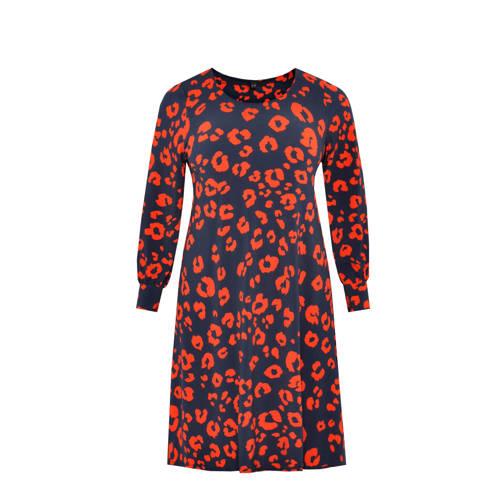 Yoek jersey jurk met dierenprint multi