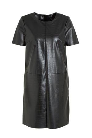 Yessica imitatieleren jurk met slangenprint zwart