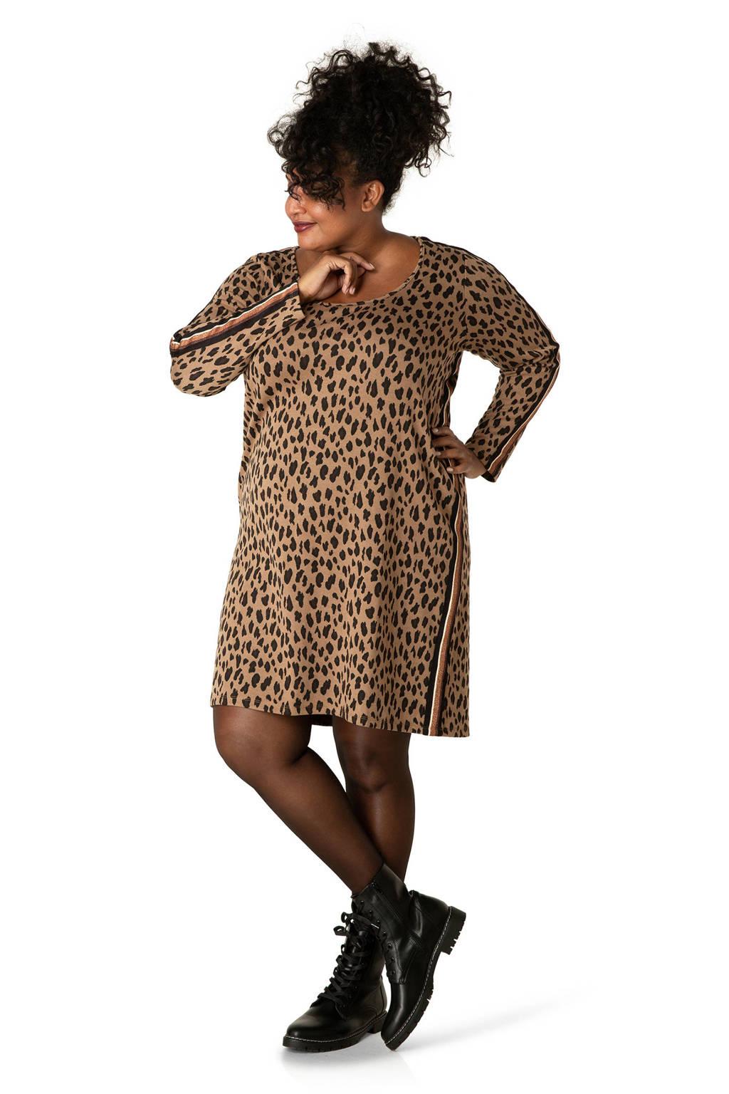 IVY BELLA jersey jurk met all over print camel/bruin/zwart, Camel/bruin/zwart