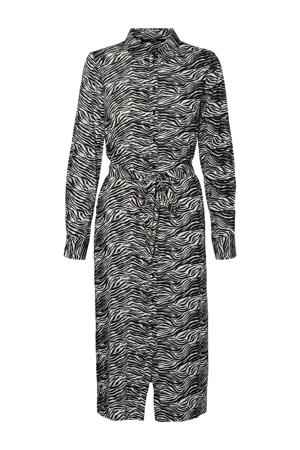 blousejurk met zebraprint en ceintuur grijs/wit