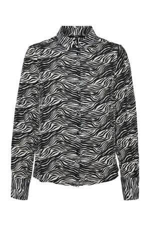 blouse met all over print grijs