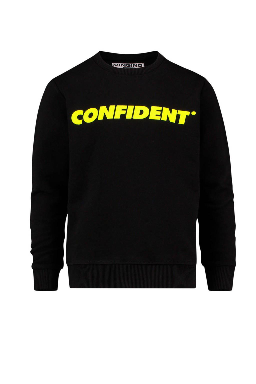Vingino sweater Notoli met tekst zwart, Zwart