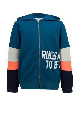 vest blauw/oranje/grijs melange