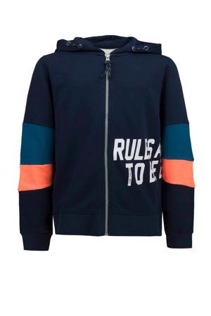 vest donkerblauw/oranje/wit