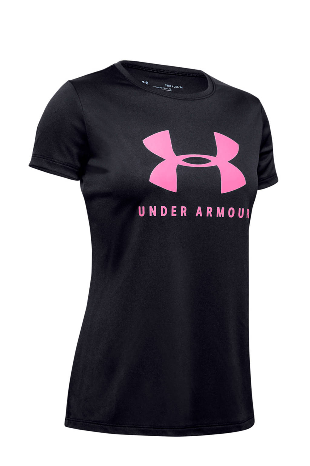 Under Armour sport T-shirt zwart/roze, Zwart/roze