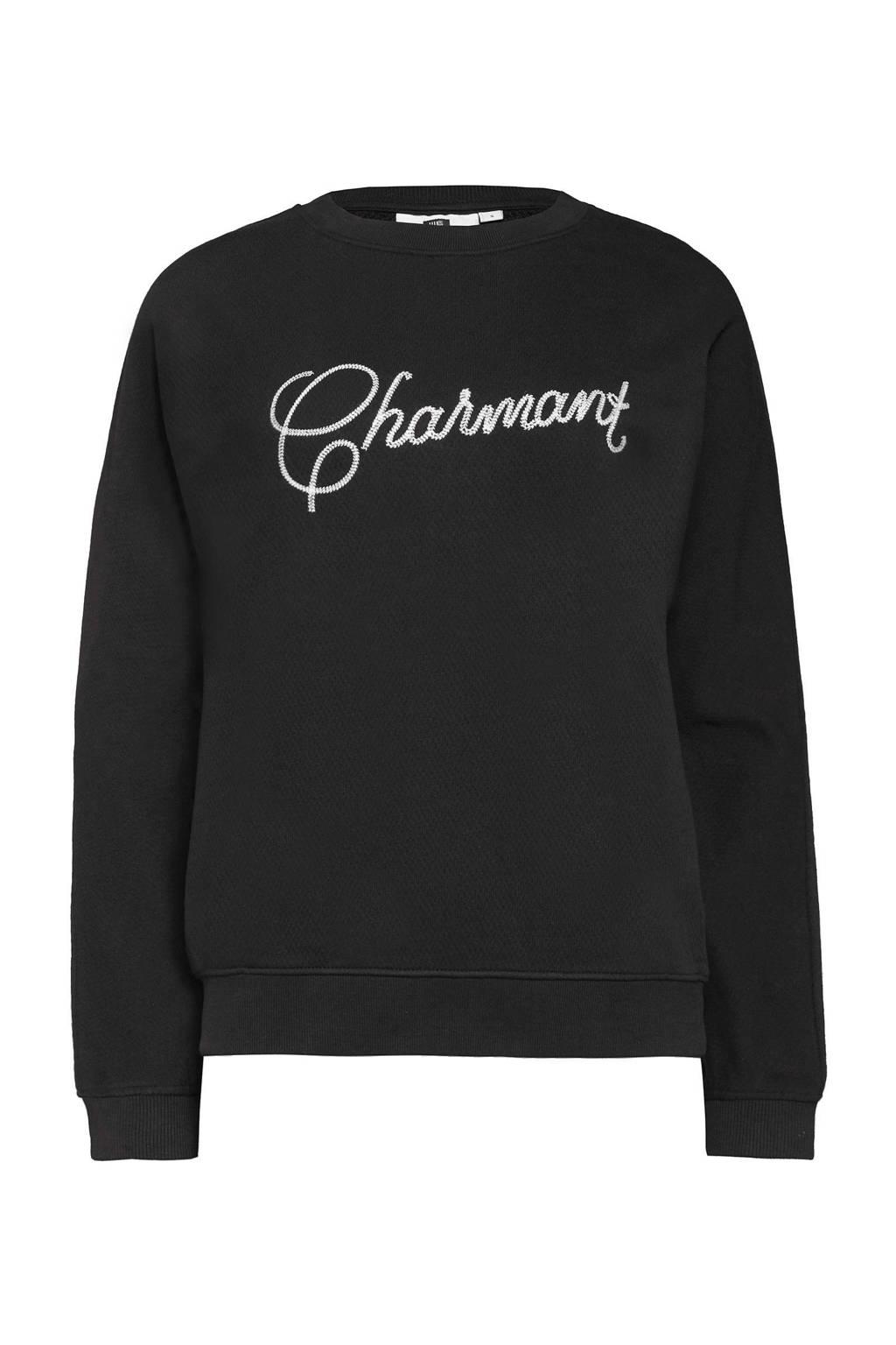 WE Fashion sweater met logo zwart, Zwart