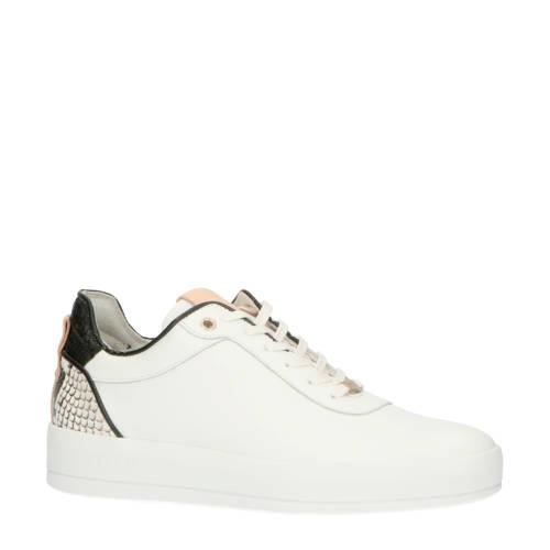 Fred de la Bretoniere leren sneakers wit/slangenpr