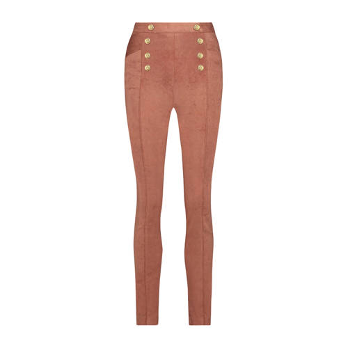 JOSH V high waist slim fit broek PLEUNIA bruin