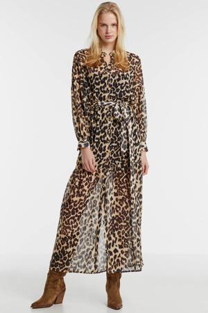 maxi jurk ROSEMARY met panterprint lichtbruin/ zwart