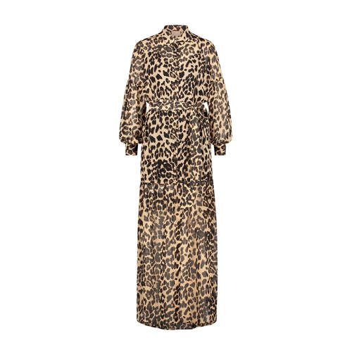 JOSH V maxi jurk ROSEMARY met panterprint lichtbruin zwart