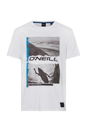 T-shirt met printopdruk white uni