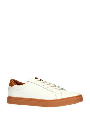 leren sneakers wit/bruin