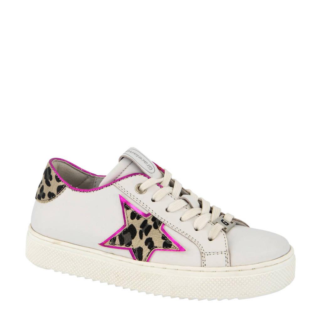 Graceland   leren sneakers wit/panterprint, Wit/roze