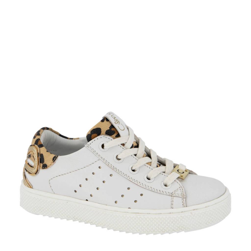 Cupcake Couture   leren sneakers wit/panterprint, Wit/bruin/goud