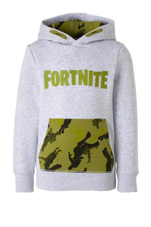 Here & There Fortnite hoodie met printopdruk en 3D applicatie grijs/groen/zwart