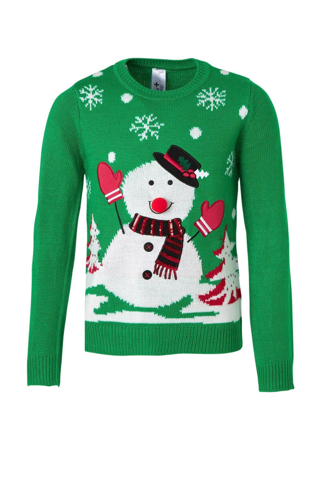 C&A Here & There gebreide kersttrui met printopdruk en pailletten groen/wit/rood, Groen/Wit/Rood