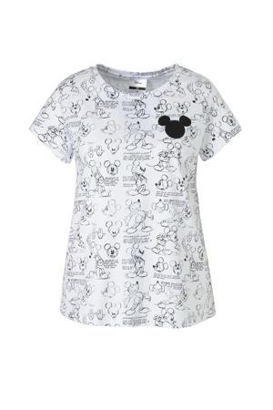 Disney T-shirt met all over print wit/zwart