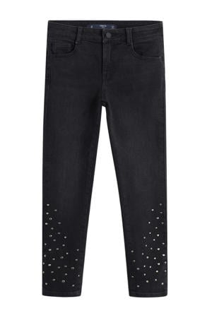 slim fit jeans met all over print en studs zwart