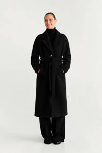 Mango coat met wol zwart, Zwart