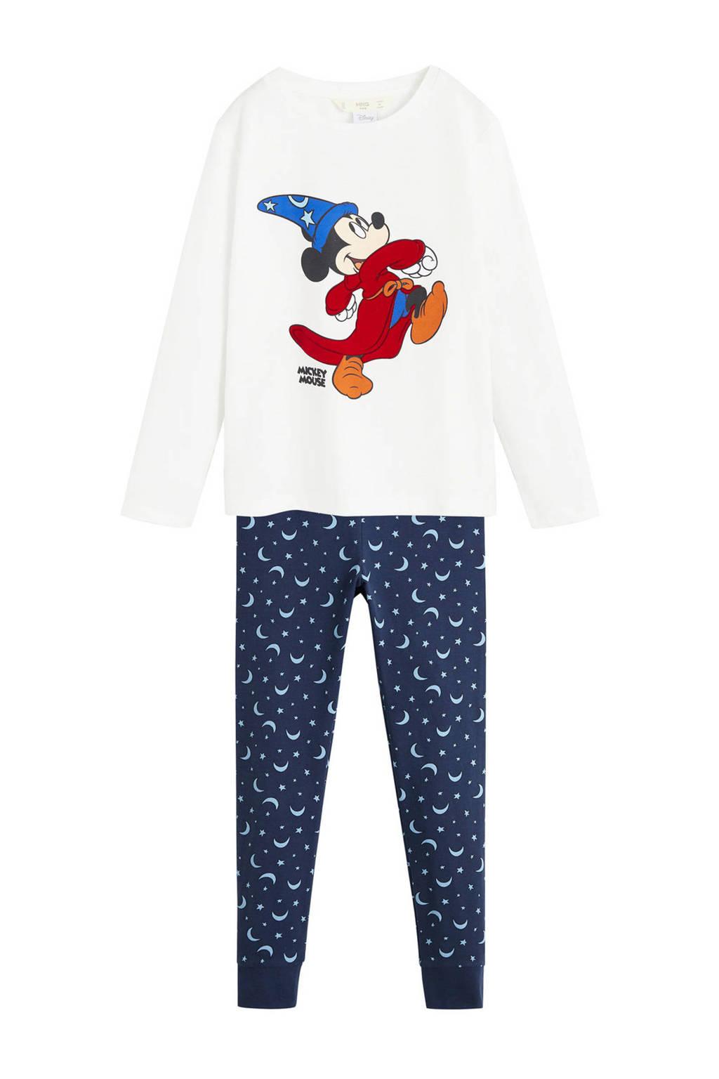 Mango Kids pyjama met print Mickey Mouse blauw/wit, Blauw/wit
