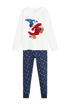 pyjama met print Mickey Mouse blauw/wit