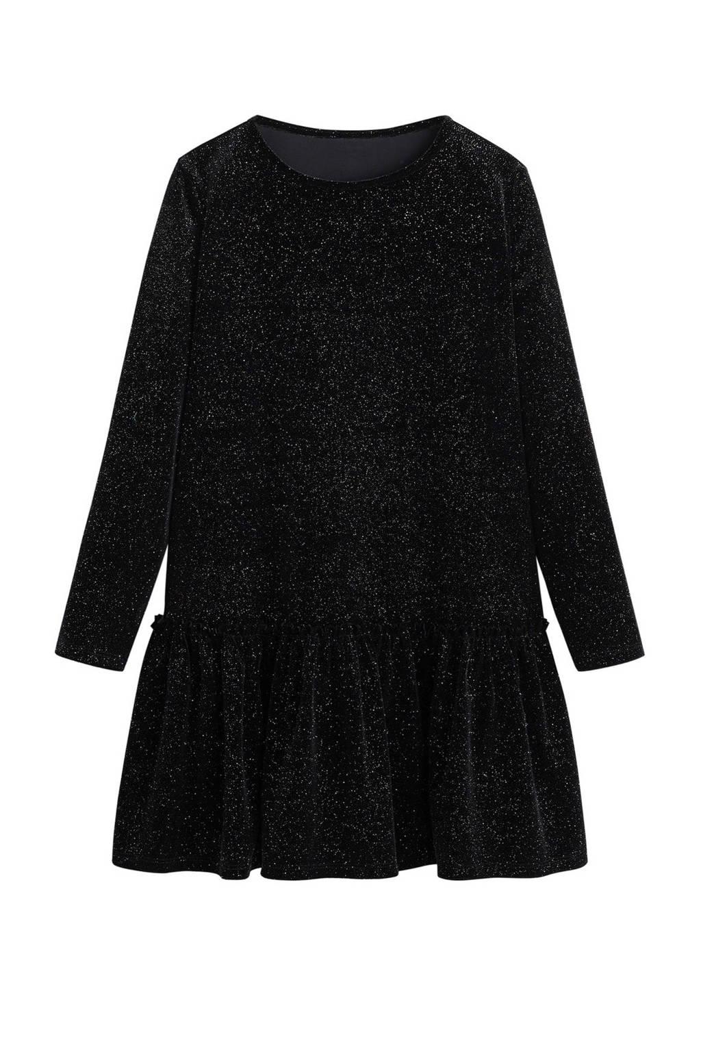 Mango Kids A-lijn jurk met all over print en glitters zwart, Zwart