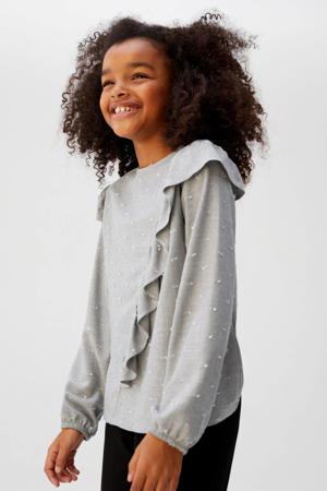 blouse met stippen en ruches grijs