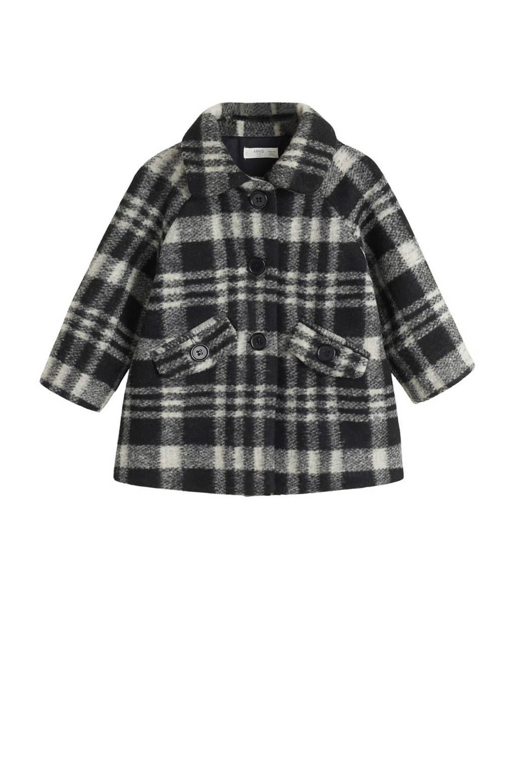 Mango Kids geruite winterjas zwart/wit, Zwart/wit