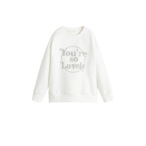 Mango Kids sweater met tekst en kraaltjes offwhite