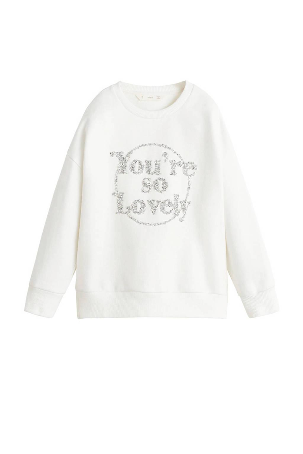 Mango Kids sweater met tekst en kraaltjes offwhite, Offwhite
