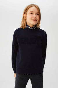 Mango Kids sweater met tekst en 3D applicatie donkerblauw, Donkerblauw