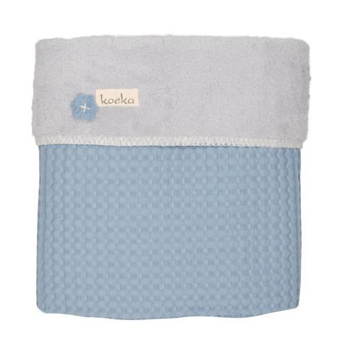 Koeka ledikantdeken wafel-teddy Oslo soft blue-silver grey