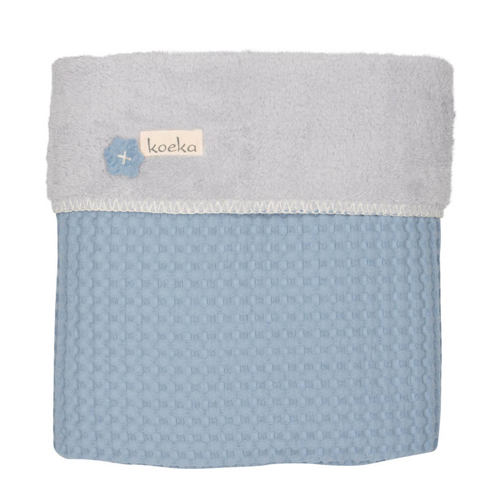 Koeka Oslo baby ledikantdeken teddy 100x150 cm Soft Blue/Silvergrey, Soft blue/silver grey
