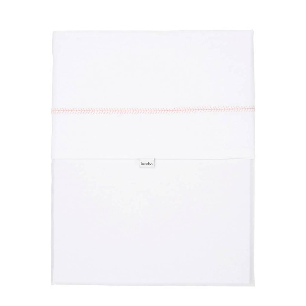 Koeka Herringbone baby wieglaken 80x100 cm Dursty Pink, Wit/Dursty Pink
