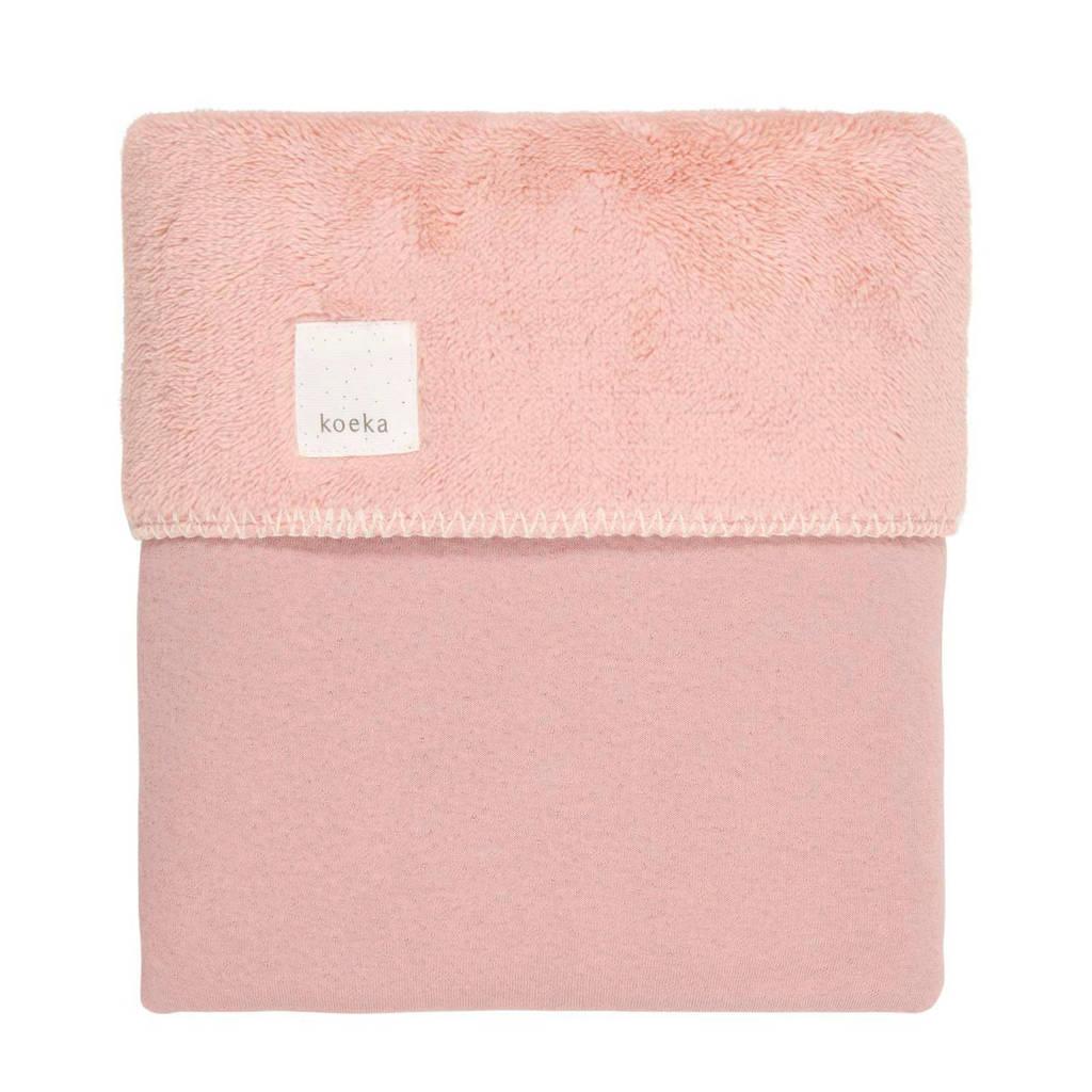 Koeka Runa teddy baby wiegdeken Old Pink 75x100 cm